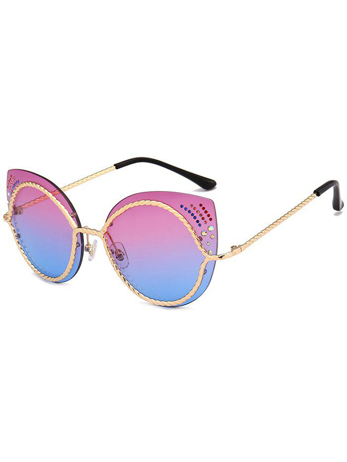 Rhinestones Cat Eye Mirror Sunglasses - VIOLET BLUE