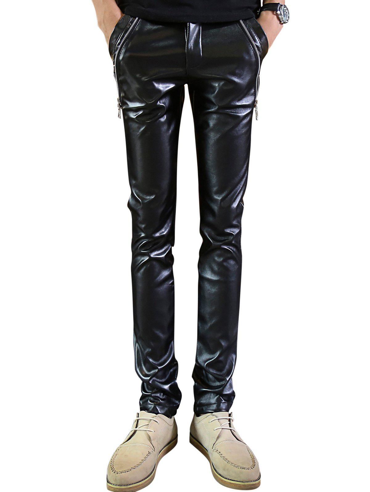 Zipper Embellished Skinny Faux Leather Pants - BLACK 34