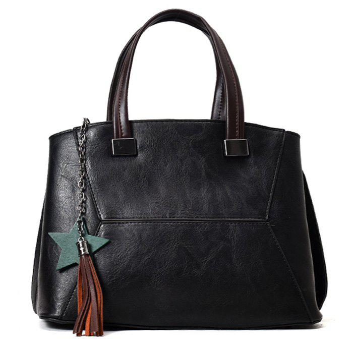 Tassel Pendants Star Handbag - BLACK