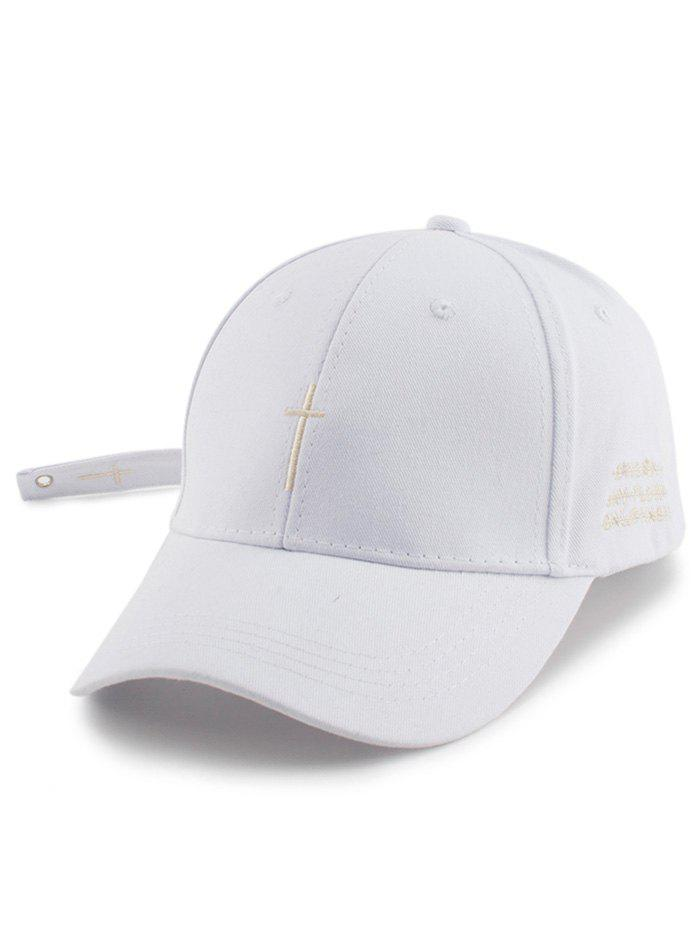 Small Cross Embroidered Baseball Hat with Tail - WHITE