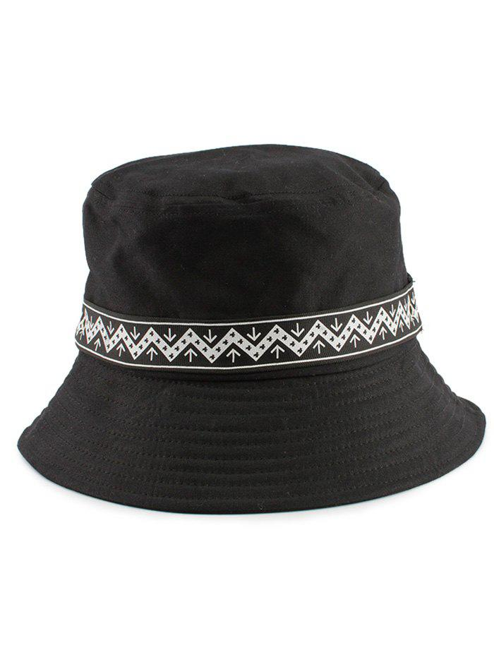 Zigzag Pattern Band Embellished Bucket Hat - BLACK