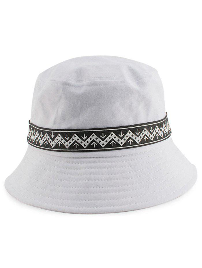 Zigzag Pattern Band Embellished Bucket Hat - WHITE