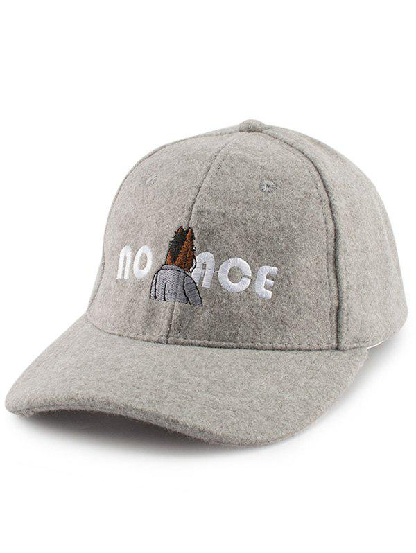 Cartoon Figure Letters Embroidered Felt Baseball Hat, Gray