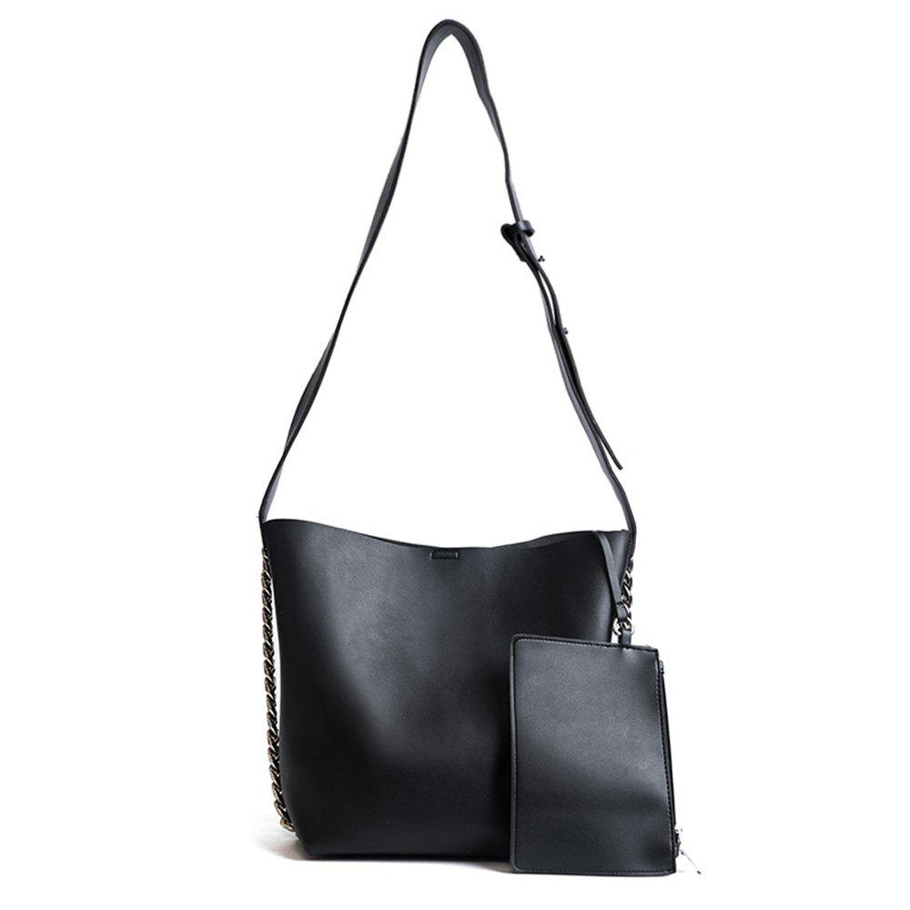 Faux Leather 2 Pieces Shoulder Bag Set - BLACK