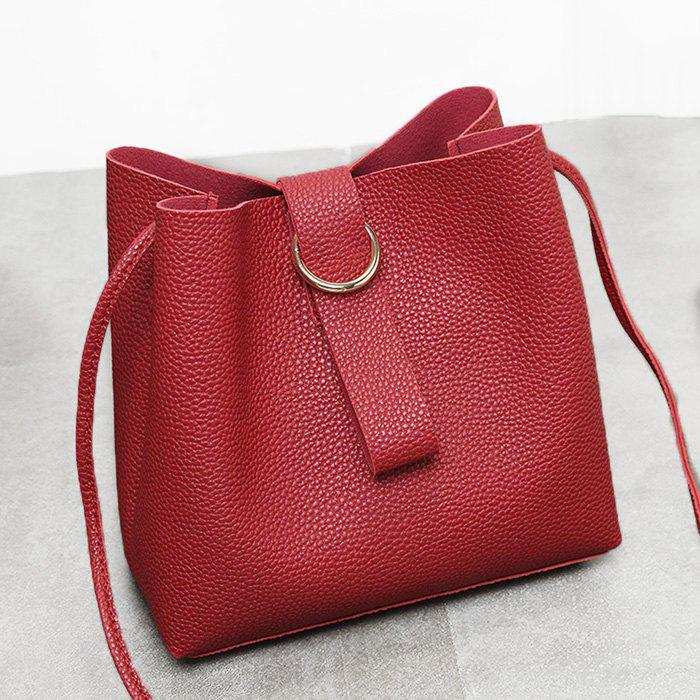 Faux Leather Grommet Handbag - Rouge