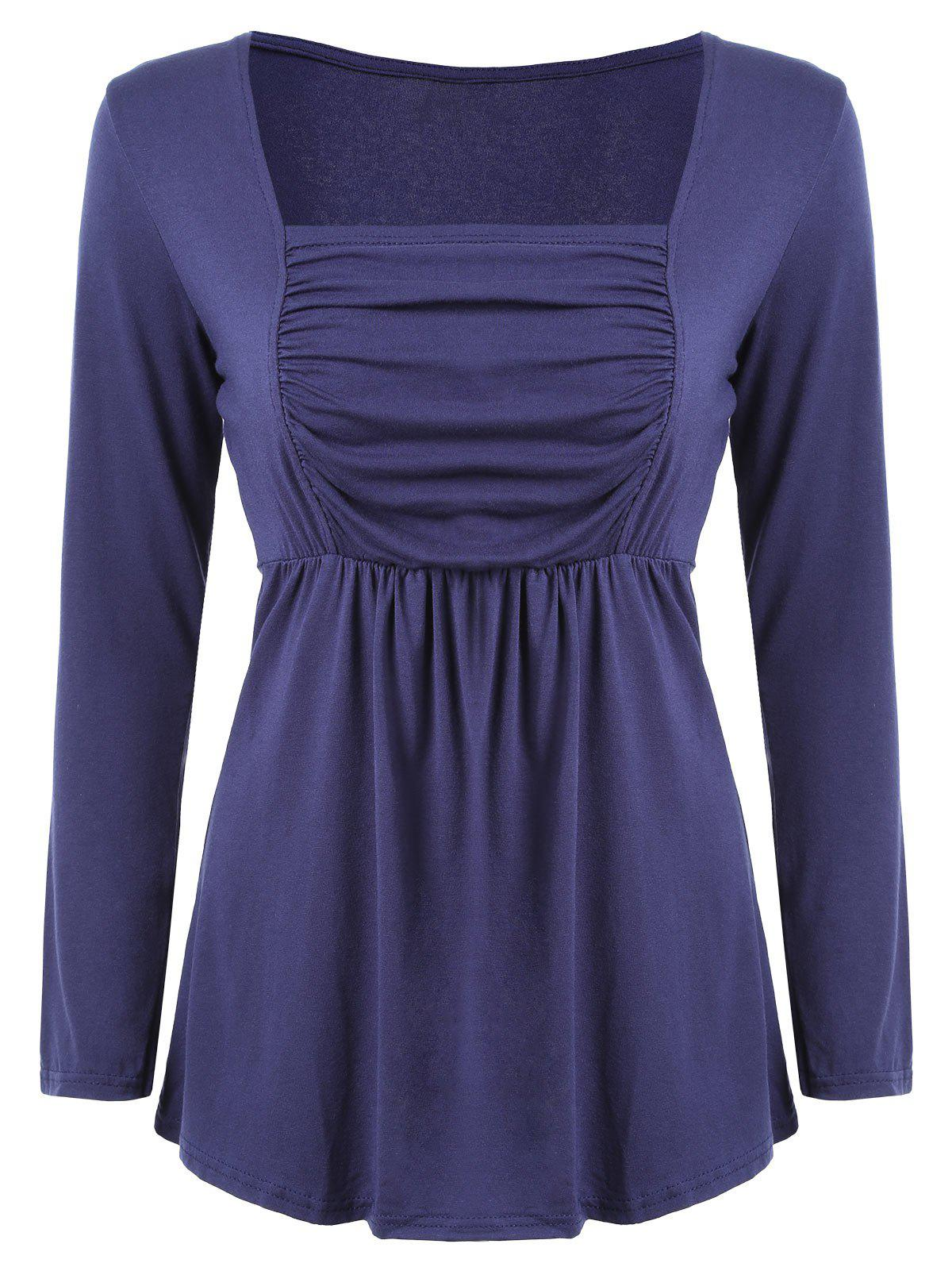 Ruched Long Sleeve Tunic T-shirt