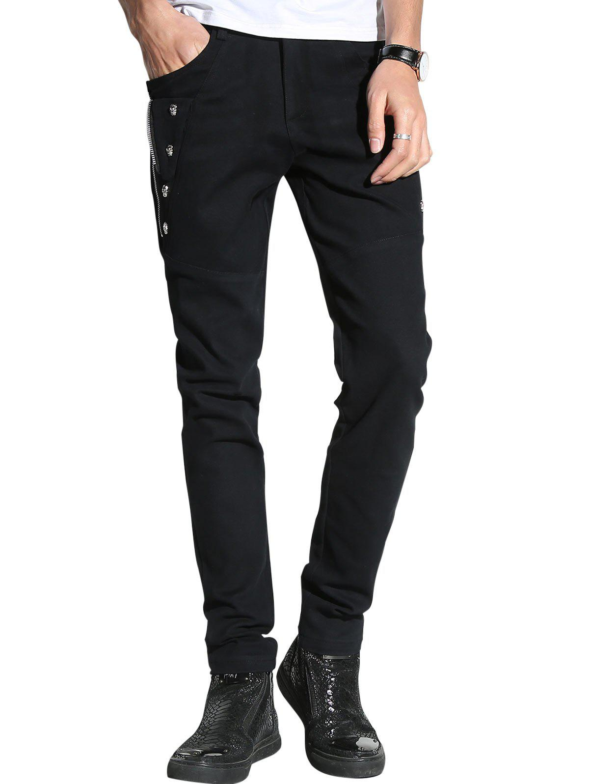 Slim Fit Zip and Skull Embellished Pants - BLACK 36