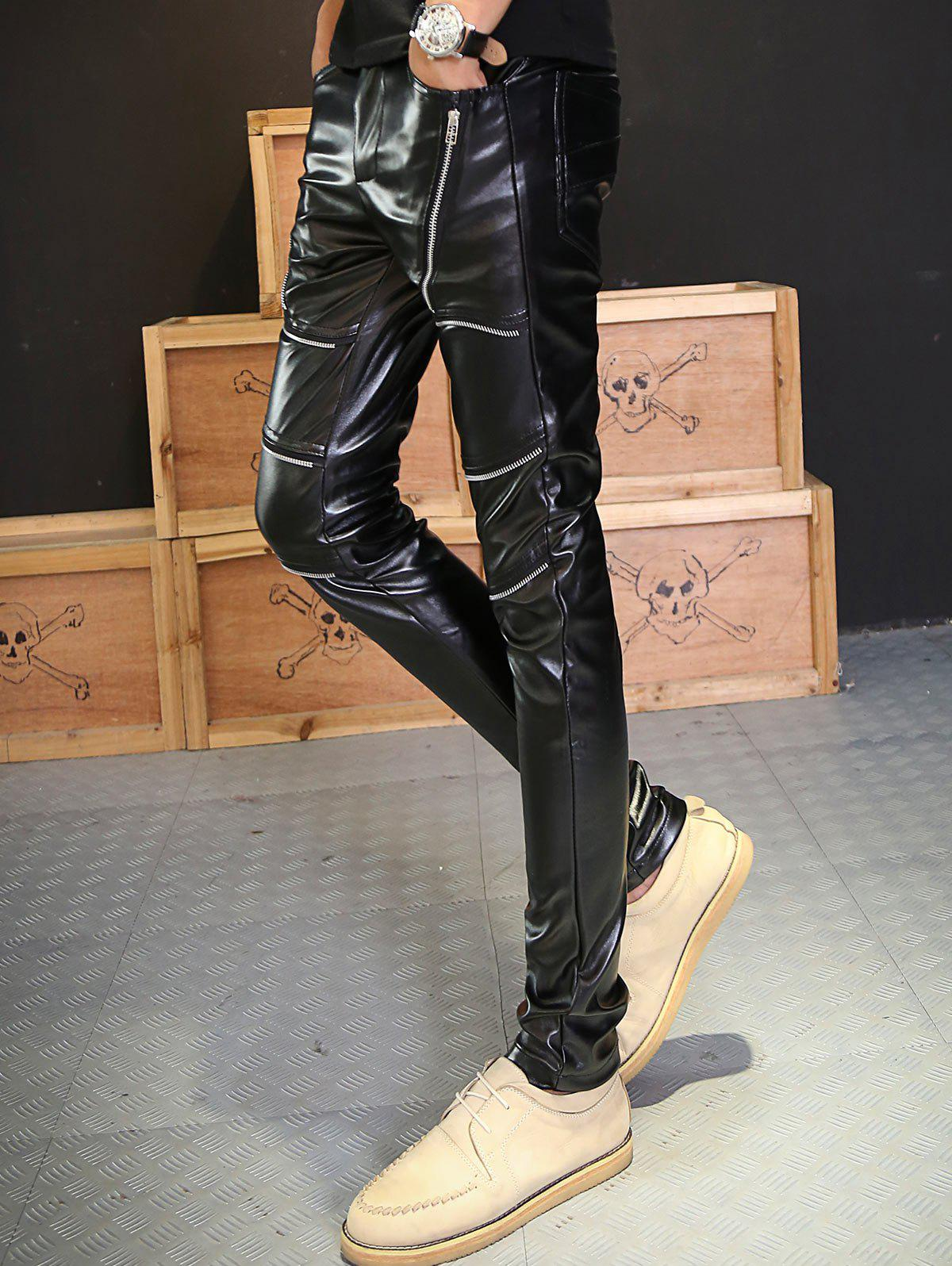 Skinny Zipper Embellished PU Leather Pants - BLACK 36