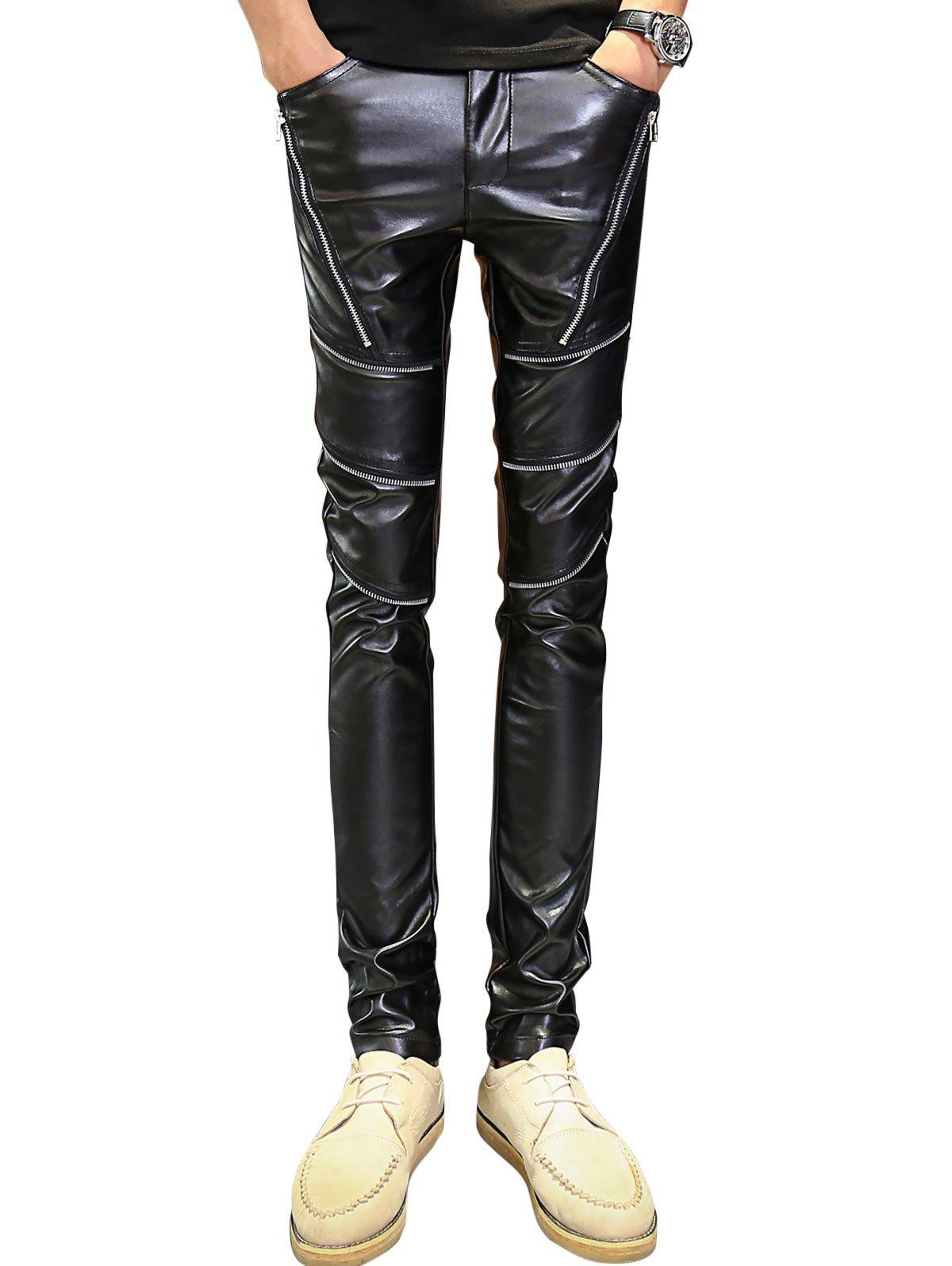 Skinny Zipper Embellished PU Leather Pants - BLACK 32