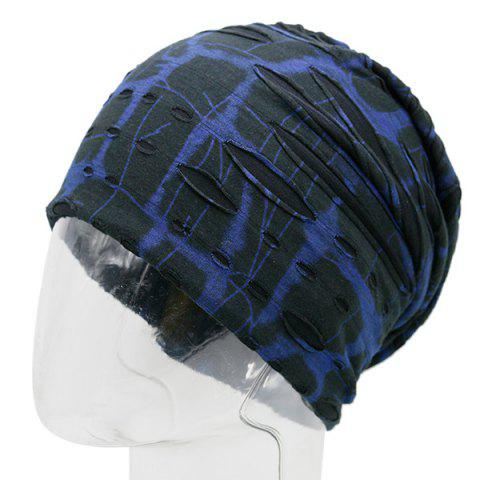 Plaid Stripe Print Knit Ripped Beanie - BLUE