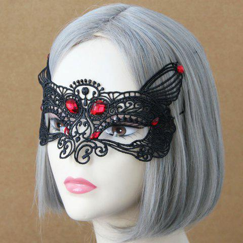 Halloween Faux Ruby Lace Fox Party Mask - BLACK