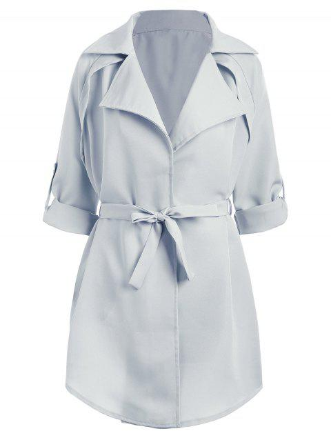 Plus Size Raglan Sleeve Lapel Coat - LIGHT BLUE 2XL