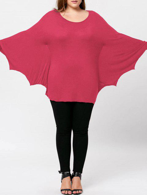 Plus Size Halloween Batwing T-shirt - WATERMELON RED XL