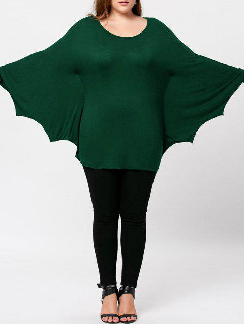 Plus Size Halloween Batwing T-shirt - BLACKISH GREEN 2XL