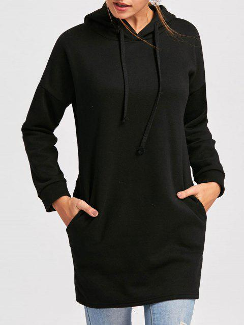 Drawstring Drop Shoulder Mini Hoodie Dress - BLACK L