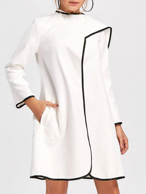 Striped Trim Duster Woolen Coat - WHITE M