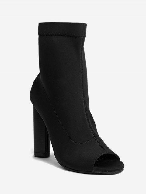 5d592a8c9d982 41% OFF  2019 Peep Toe Chunky Heel Ankle Boots In BLACK 39 ...