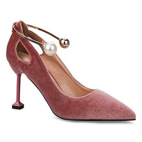 Metal Ankle Wrap Strange Heel Pumps - NUDE PINK 37