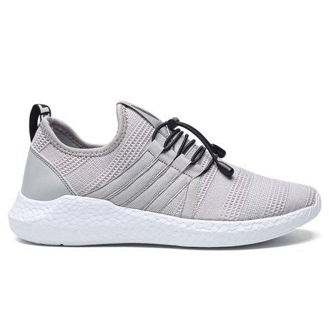 Mesh Tie Up Athletic Shoes - GRAY 44