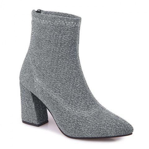 Pointed Toe Glitter Zipper Ankle Boots - SILVER 39