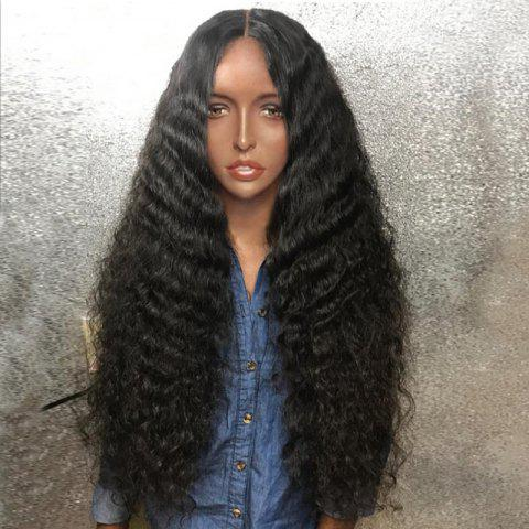Long Center Parting Fluffy Deep Wave Synthetic Wig - BLACK