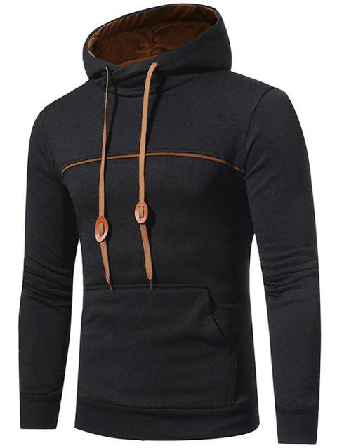 Sweat à Capuche Pull-over avec Bordure à Cordon en Toison - Noir M