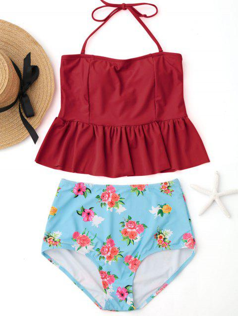 Peplum High Waisted Floral Tankini Set - RED XL