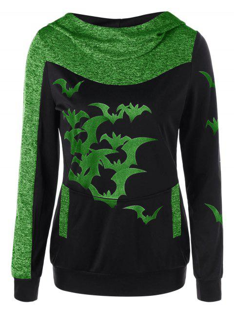 Halloween Bat Print Marled Hoodie - APPLE GREEN M