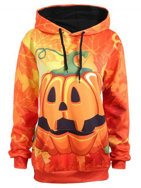 Sweat à Capuche Grande Taille Halloween Citrouille et Maple - Orange 5XL