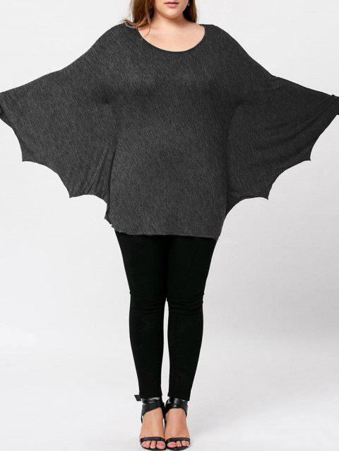 Plus Size Halloween Batwing T-shirt - MOUSE GREY 3XL