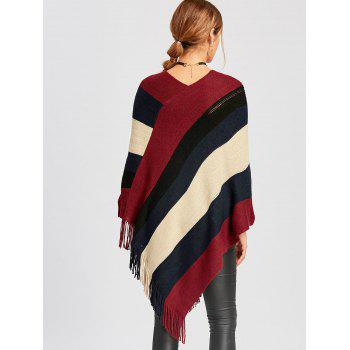 Color Block Asymmetric Knit Cape - DEEP RED DEEP RED