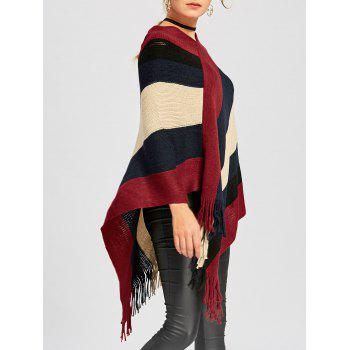 Color Block Asymmetric Knit Cape - DEEP RED M