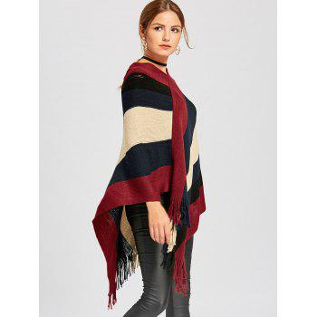 Color Block Asymmetric Knit Cape - M M