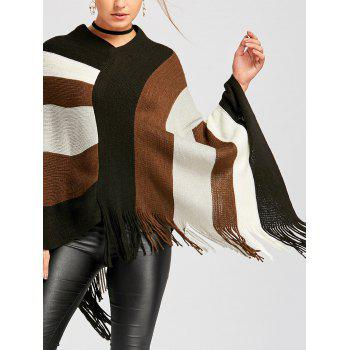 Color Block Asymmetric Knit Cape - BLACK S