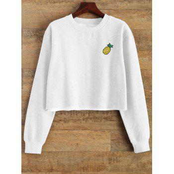 Raw Edge Cropped Sweatshirt - WHITE L