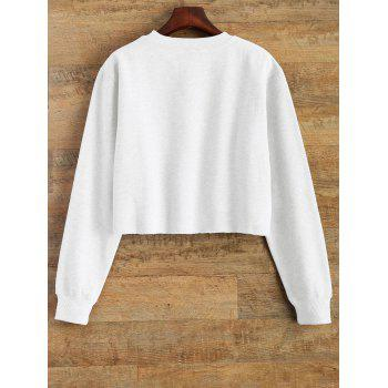 Raw Edge Cropped Sweatshirt - WHITE WHITE