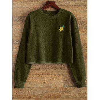 Raw Edge Cropped Sweatshirt - ARMY GREEN ARMY GREEN