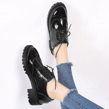 Lace Up Patent Leather Wingtip Flat Shoes - 35 35