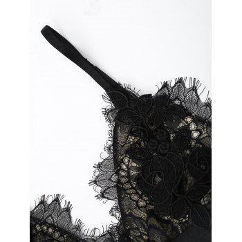 Sheer Lace Bra with Pajama Shorts - L L