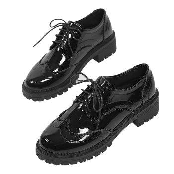 Lace Up Patent Leather Wingtip Flat Shoes - 36 36