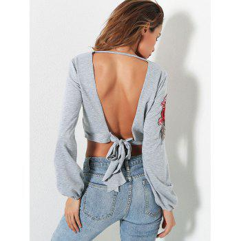 Open Back Embroidery Crop Top - GRAY S