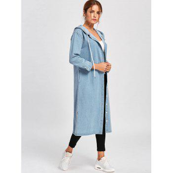 Drawstring Hooded Long Denim Jacket - LIGHT BLUE L