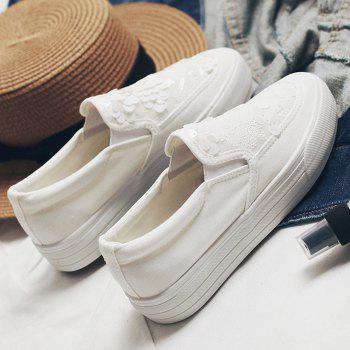 Sequins Gauze Canvas Slip On Sneakers - Blanc 37