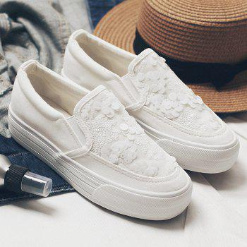 Sequins Gauze Canvas Slip On Sneakers - WHITE 38