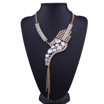 Statement Rhinestone Sparkly Fringed Necklace -  WHITE