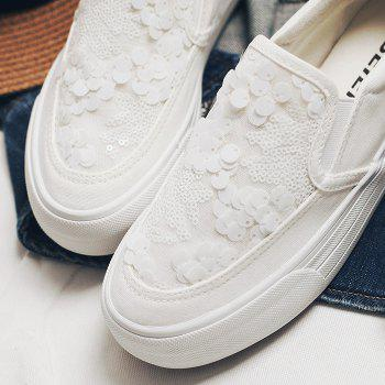 Sequins Gauze Canvas Slip On Sneakers - WHITE WHITE