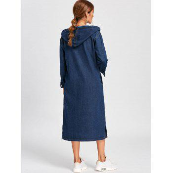 Drawstring Hooded Long Denim Jacket - DEEP BLUE L