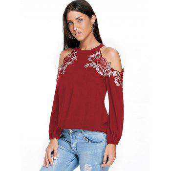 Embroidery Applique Cold Shoulder Top - RED 2XL