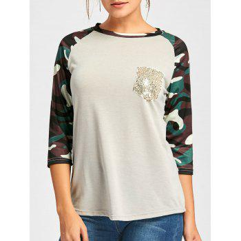Raglan Sleeve Camo Sequin Pocket Tee - LIGHT GRAY M