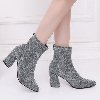 Pointed Toe Glitter Zipper Ankle Boots - SILVER 37